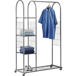 more details on HOME Clothes Rail with Shelves - Silver.