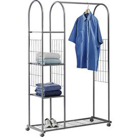 Argos Home Clothes Rail with Shelves - Silver