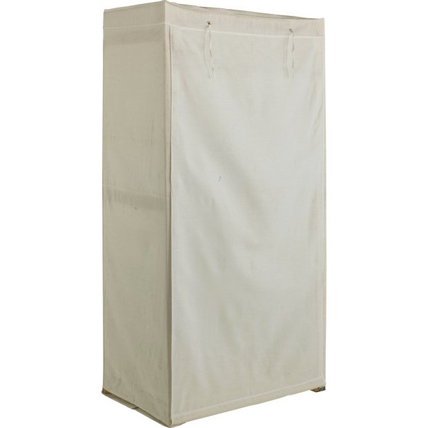 Buy Simple Value Polycotton and Wood Single Wardrobe - Cream ...