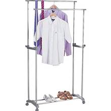 HOME Double Adjustable Clothes Rail - Silver