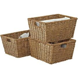 Argos Home Set of 3 Seagrass Storage Baskets - Natural