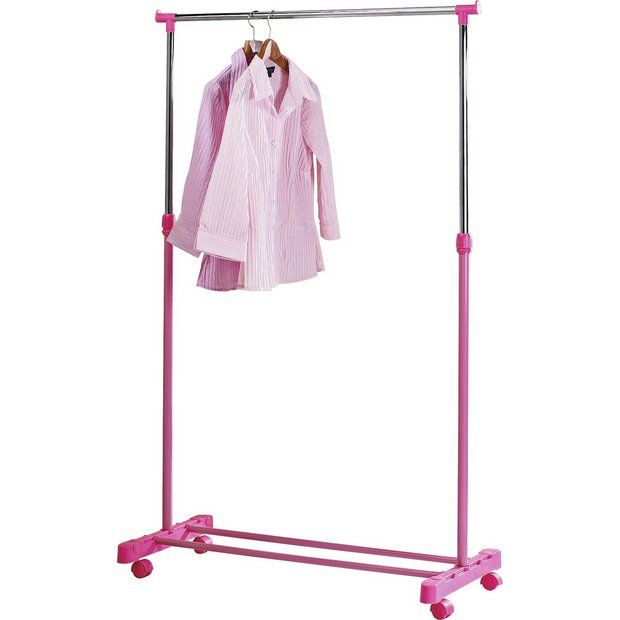 Buy home adjustable chrome plated clothes rail pink at - Bedroom furniture for hanging clothes ...