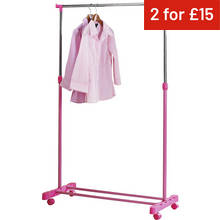 HOME Adjustable Chrome Plated Clothes Rail - Pink