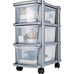 more details on HOME 3 Drawer Slim Tower Plastic Storage Unit - Silver.