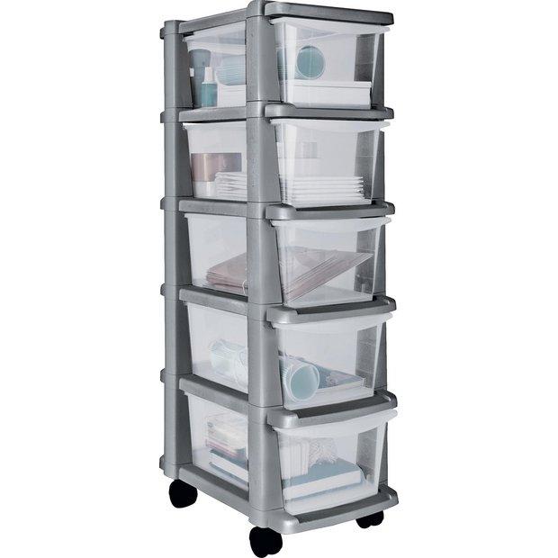 buy home 5 drawer silver plastic slim tower storage unit. Black Bedroom Furniture Sets. Home Design Ideas