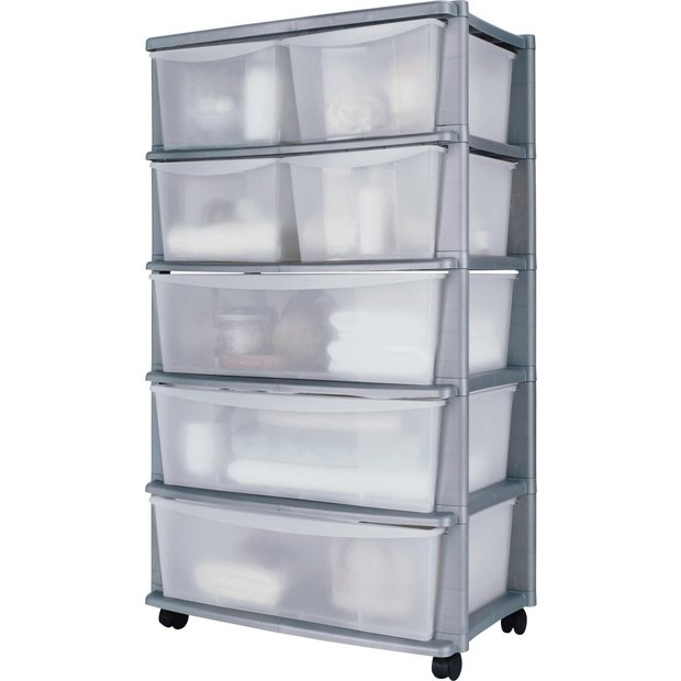 Buy Home 7 Drawer Silver Plastic Wide Tower Storage Unit