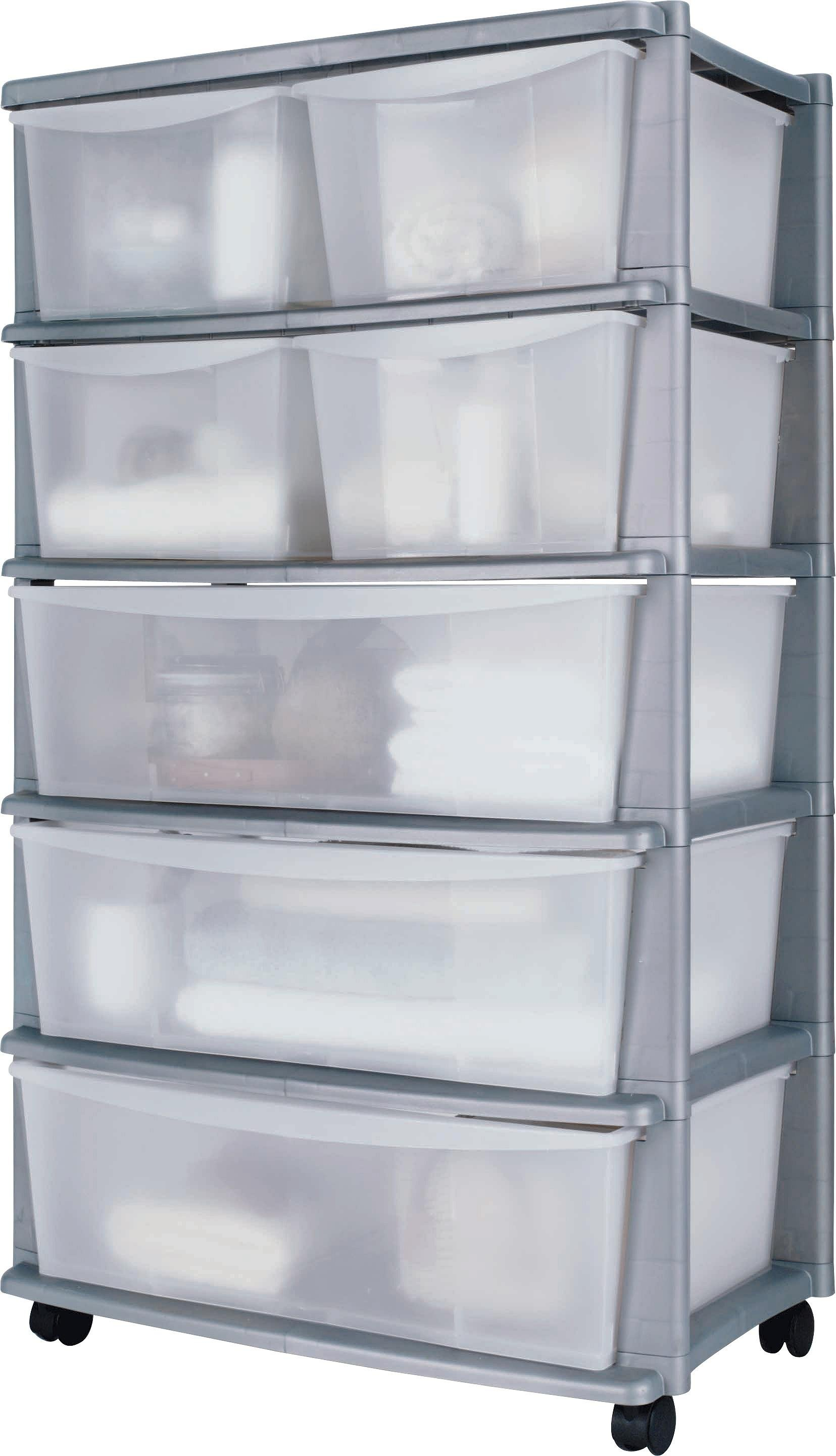 Home  Drawer Silver Plastic Wide Tower Storage Unit