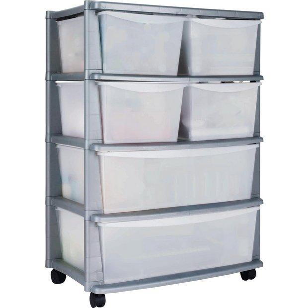 buy home 6 drawer plastic wide storage tower unit silver. Black Bedroom Furniture Sets. Home Design Ideas