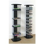 more details on HOME DVD & CD Twin Pack Media Storage Tower - Black & Silver