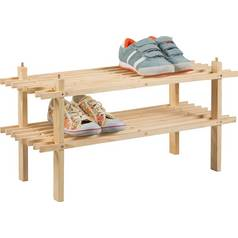 Simple Value 2 Shelf Shoe Storage Rack - Solid Pine