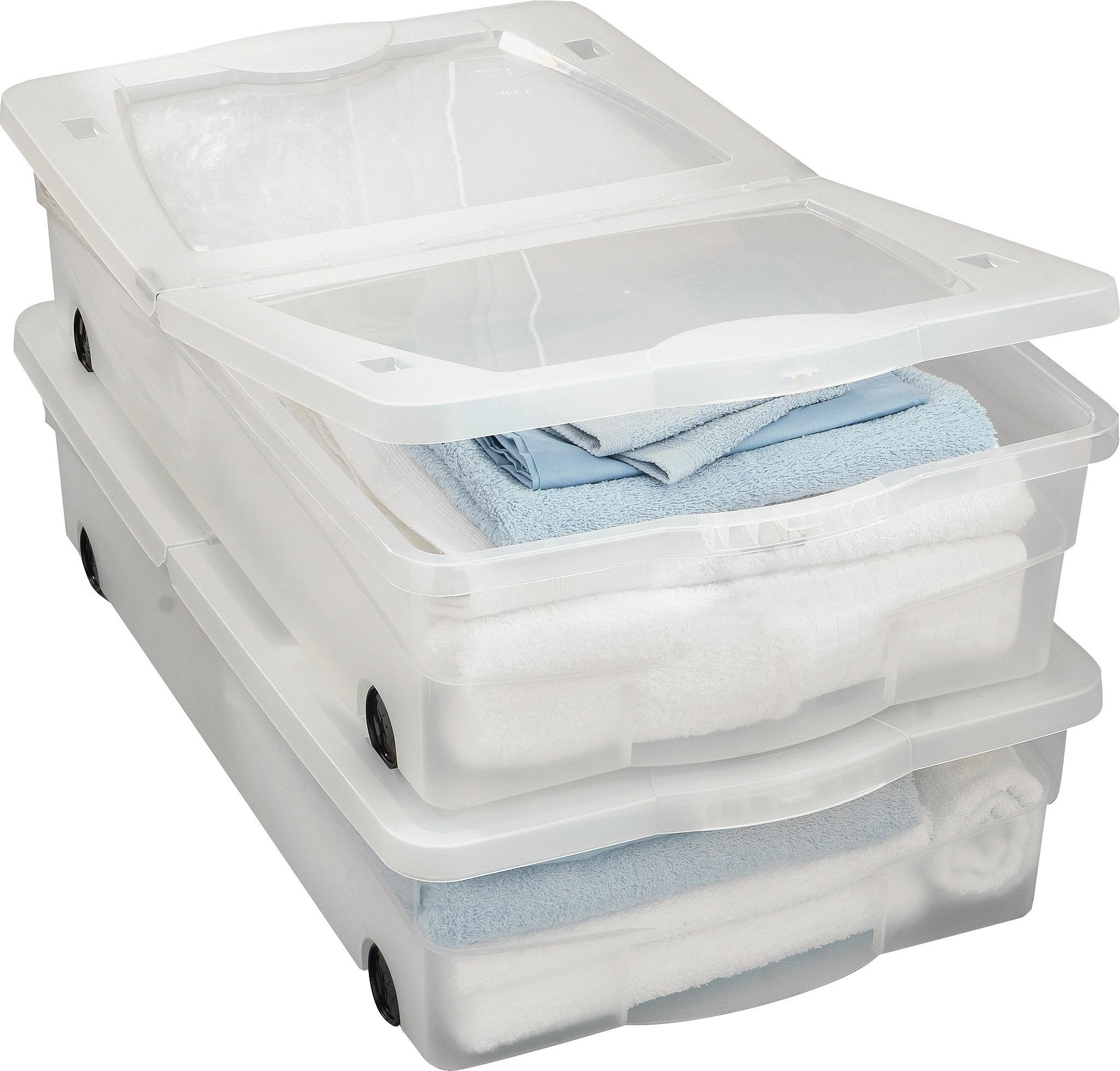 home 50 litre plastic underbed storage with lids set of 2