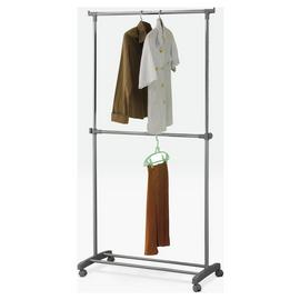 Argos Home Adjustable Chrome 2 Tier Clothes Rail - Grey