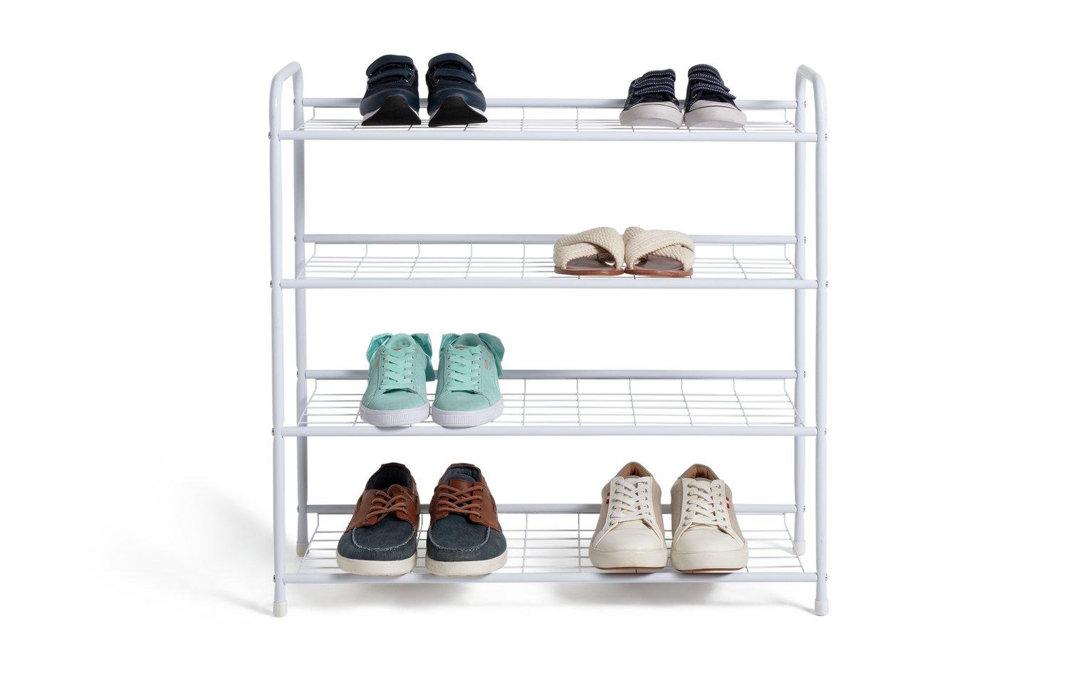 home 4 shelf shoe storage rack white