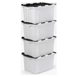 Argos Home 40 Lt Blk Crocodile Lid Storage Boxes - Set of 4