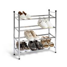 HOME 4 Shelf Extendable Shoe Storage Rack - Chrome Plated