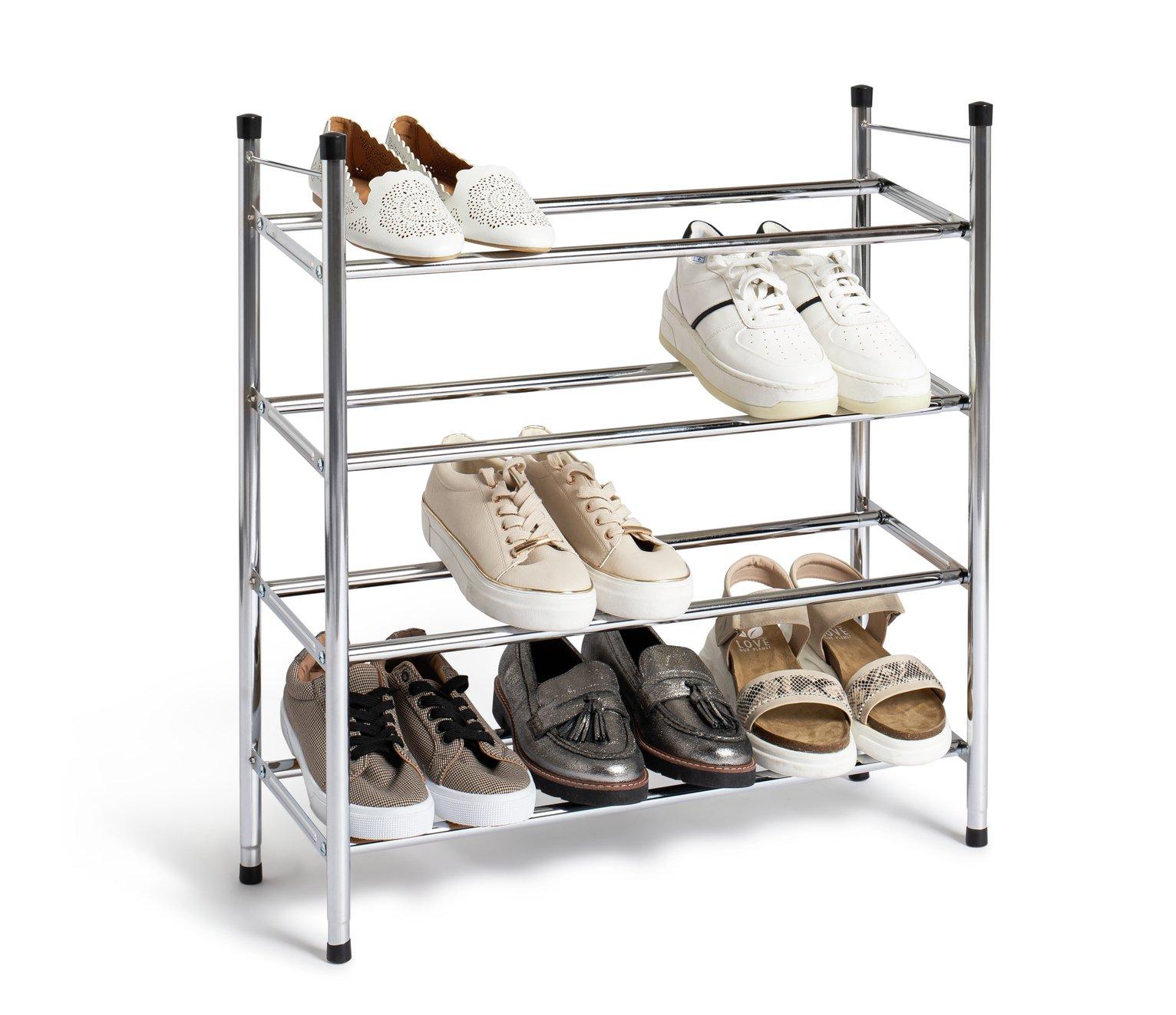 home 4 shelf extendable shoe storage rack chrome plated