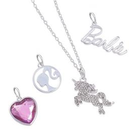 Barbie Unicorn and Heart Cubic Zirconia Charm  Pendant Set