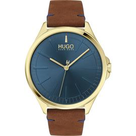 HUGO Men's Brown Leather Strap Watch