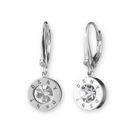 DKNY Silver Colour Cubic Zirconia Crystal Logo Drop Earrings