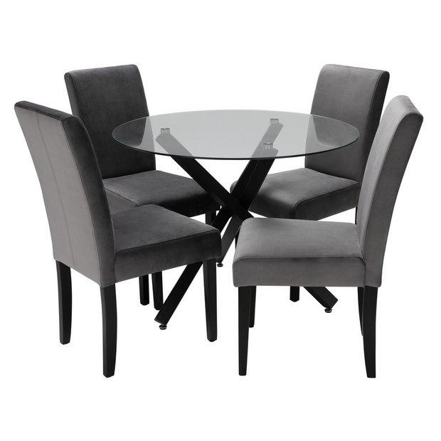 Buy Argos Home Ava Glass Dining Table 4 Velvet Chairs Grey Dining Table And Chair Sets Argos