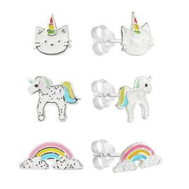 Revere Sterling Silver Set of 3 Unicorn Stud Earrings