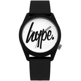 Hype White Dial Black Silicone Strap Watch