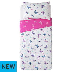 Argos Home Reverse Pink Butterfly Bedding Set - Single