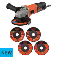 Black & Decker 115mm Angle Grinder & 5 Cutting Discs - 710W