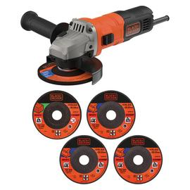 Black + Decker 115mm Angle Grinder & 5 Cutting Discs - 710W