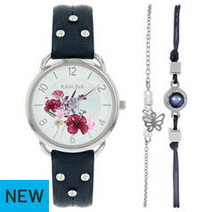 Kahuna Silver Dial Ladies Watch and Bracelet Set