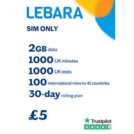 Lebara 6GB Pay As You Go 30 Day Plan SIM Card