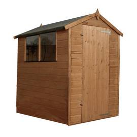 Mercia Wooden 6 x 4ft Shiplap 2 Glazed Window Shed Best Price, Cheapest Prices