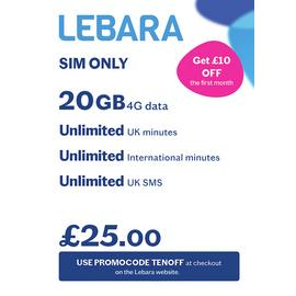 Lebara 20GB Pay As You Go 30 Day Plan SIM Card