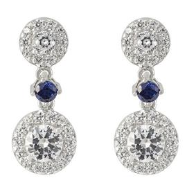 Revere Round Cubic Zirconia Sterling Silver Drop Earrings