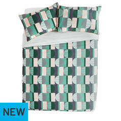 Argos Home Geo Squares Printed Bedding Set - Kingsize