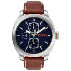Hugo Boss Orange Blue Dial Leather Strap Watch