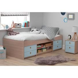 Argos Home Camden Blue & Acacia Cabin Bed & Kids Mattress