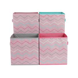 Argos Home Set of 4 Zig-Zag Canvas Boxes
