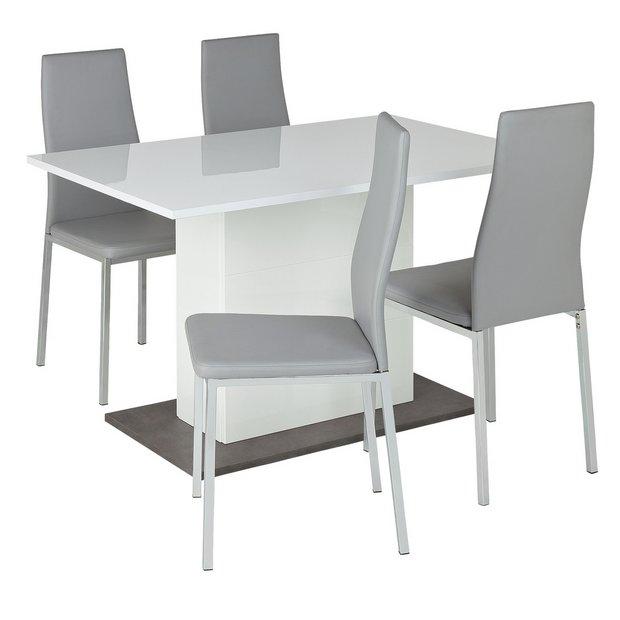 8d579a535424 Buy Argos Home Holborn Gloss Pedastal Table   4 Chairs - Grey ...