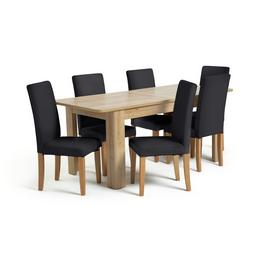 Habitat Miami Curve Oak Effect Extending Table & 6 Chairs