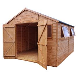 Mercia Wooden 16 x 10ft Shiplap 4 Glazed Window Workshop