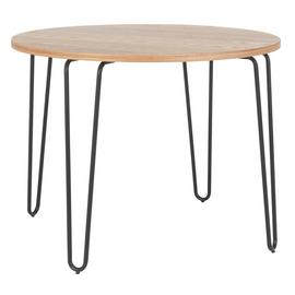 Habitat Tyler Ash & Black Metal Round 4 Seater Dining Table