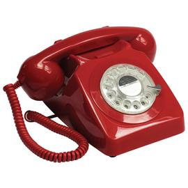 GPO 746 Rotary Dial Corded Telephone - Red