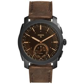 Fossil Machine Hybrid Men's Brown Leather Smart Watch