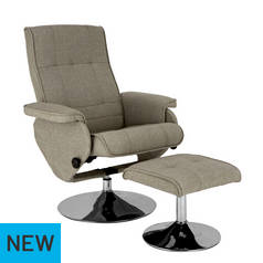 Argos Home Rowan Fabric Swivel Chair & Footstool -Light Grey
