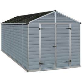 Palram Skylight Plastic 8 x 16ft Shed - Dark Grey