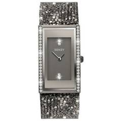 Seksy Rocks Black Stone Set Strap Watch