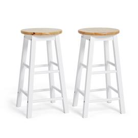Argos Home Pair of Wooden Bar stools - Two Tone