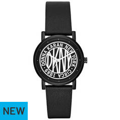 DKNY Black and White Dial Black Leather Strap Watch