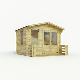 Mercia Wooden 11 x 11ft Single Glazed Cabin with Veranda